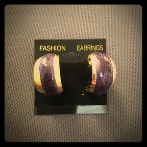 AVON 1996 Vintage HOOP earring Gold Purple Tone 💫